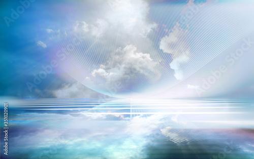 linien bewegung banner perspektive blau Fototapeta