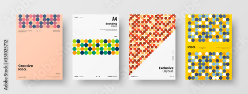 Fototapeta Company identity brochure template collection. Business presentation vector A4 vertical orientation front page mock up set. Corporate report cover abstract geometric illustration design layout bundle. obraz