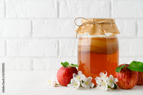 Fototapeta Homemade fermented kombucha in a glass jar and red apples on a background of a white brick wall. Kombucha SCOBY Symbiotic culture of bacteria and yeast. Horizontal orientation with copy space. obraz