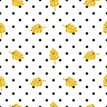 Polka Dot Pattern With Palm Leaves Vector.