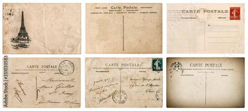 Vintage french postcard stamp Paris paper background Fototapete