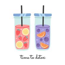 Fresh, Fruit Water In Glasses ...
