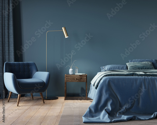 Fotomural The interior of the bedroom in dark blue with a wide bed, a wooden nightstand an