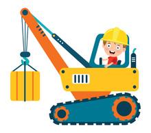 Funny Kid Using Crane Machine