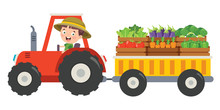 Funny Little Farmer Riding Tractor