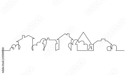 Valokuvatapetti City scape, house, residential building concept. One line drawing