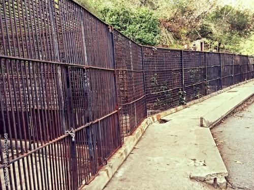 Fototapeta Rusty Cage In Abandoned Zoo obraz