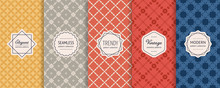 Vector Seamless Pattern Collection. Retro Geometric Backgrounds With Elegant Modern Labels. Set Of Abstract Vintage Ornament. Simple Colorful Textures. Yellow, Gray, Red And Blue Color. Repeat Design
