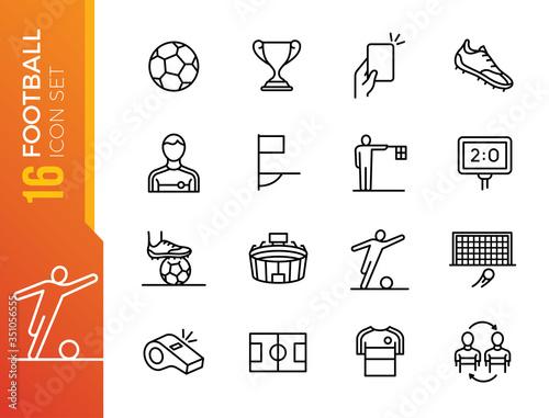 Foto Soccer line icon set