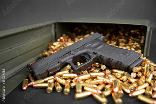 Glock 17 with 9mm ammo & ammo box Canvas Print