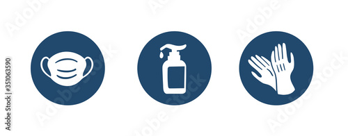 Obraz Sanitation accessories Icon - help during Coronavirus or COVID19 - fototapety do salonu