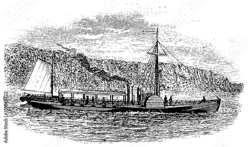 Fotografija The North River Steamboat or North River, colloquially known as the Clermont, during the transition from New York to Albany on October 7, 1807