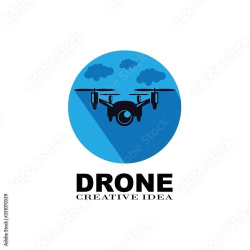 drone logo template vector icon. photography drone vector. quad copter vector icon   Wall mural