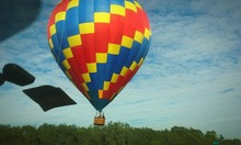 Low Angle View Of Colorful Hot Air Balloon Against Sky
