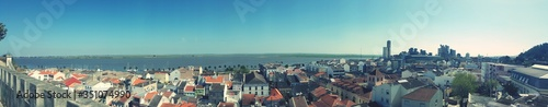 Fototapety, obrazy: High Angle Shot Of Townscape Against Calm Sea