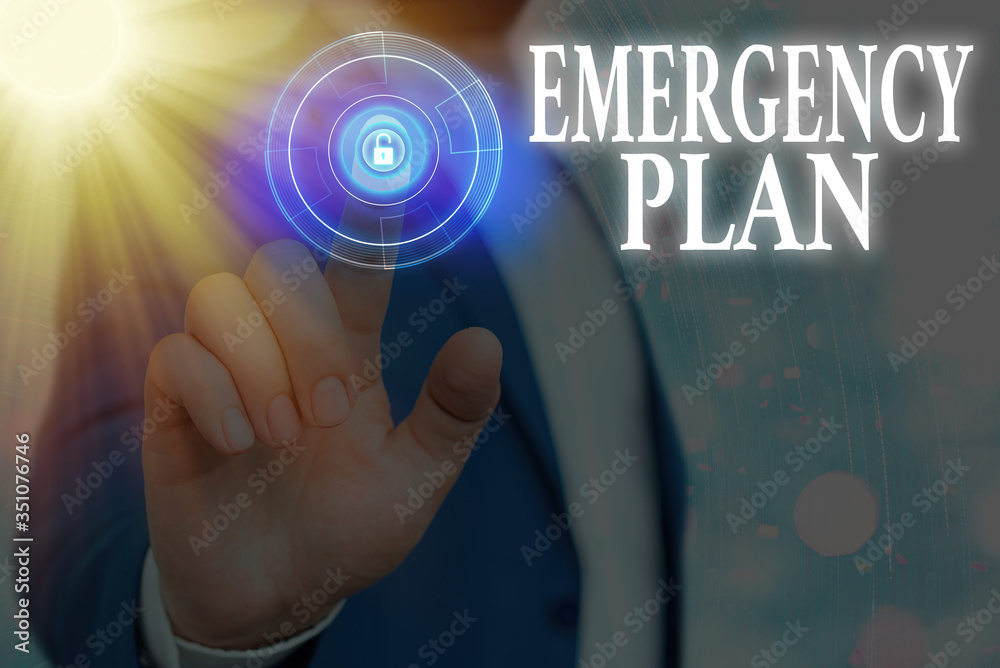 Fototapeta Text sign showing Emergency Plan. Business photo text procedures for handling sudden or unexpected situations