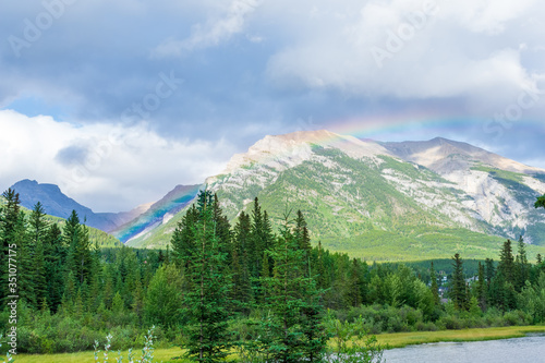Rainbow over the mountains in the Canadian Rockies