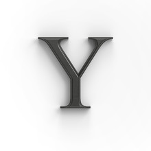 Wood Letter Y With Surface Contact Shadow, ISOLATED Upper-case 3d Wooden Font Suitable For Decorations, PS Matte Path Shape Level Included, 3D Illustration