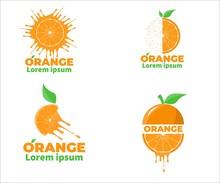 Set Of Juicy, Splash, Grains,Half, Sliced, Orange Fruit Logo Isolated On White Background. Orange Logo Package.  Vector Design Illustration.