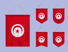 Set Of Hanging Flags Tunisia With Textile Texture. Diversity Shapes Of The National Flag Country. Vertical Template Pennant For Banner, Web, Logo, Award And Festival