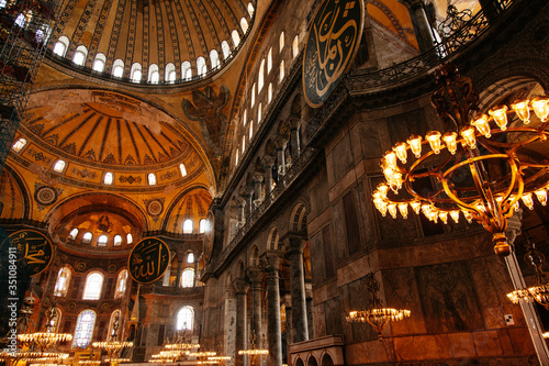 Interior Of Illuminated Hagia Sophia Fototapeta