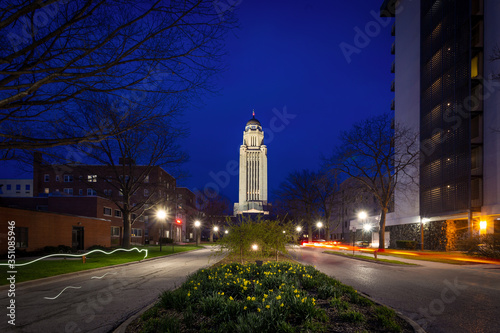 Lincoln Nebraska state capitol at night Canvas Print