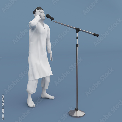 3d illustration moslem character doing calling everybody to pray (azan) with microphone sound system Wallpaper Mural