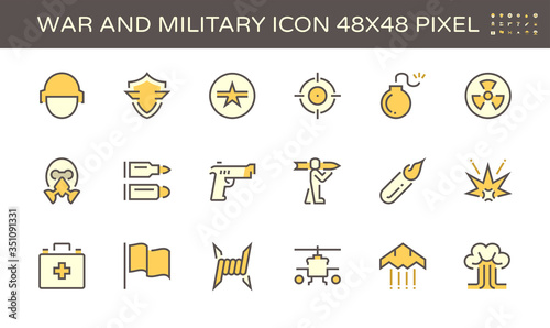 War and military vector icon set design, 48x48 pixel perfect and editable stroke Canvas Print