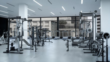 Empty Modern Gym Interior With...