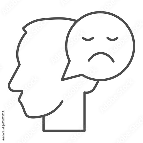 Fototapeta Person with negative thought thin line icon, communication concept, User with speech bubble sign on white background, human head with sad smile bubble sign in outline style