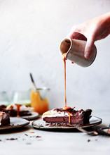 Pouring Caramel On A Slice Of ...