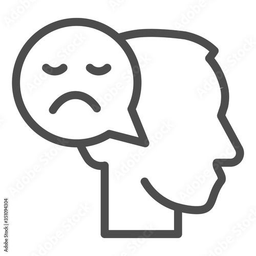 Obraz na plátně Person with negative thought line icon, communication concept, User with speech bubble sign on white background, human head with sad smile bubble sign in outline style