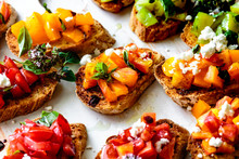 Closeup View Of Bruschetta Wit...