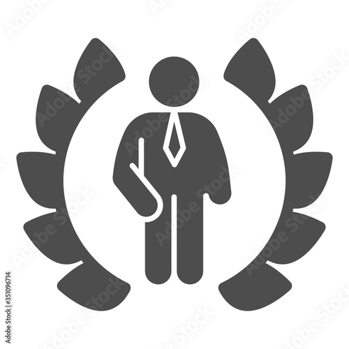 Fotografie, Obraz Wreath and businessman solid icon, business concept, winner of competition sign on white background, Best award laurel wreath and man icon in glyph style for mobile, web