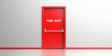 Fire Exit Sign On A Red Door I...