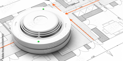 Obraz na plátne Smoke detector on blueprint drawing background