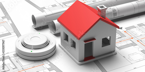 Fototapeta Smoke detector and small house on blueprint drawing background. Fire safety system. 3d illustration obraz