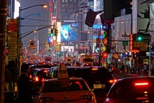 Cars On City Street At Times Square During Night