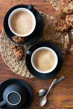 Cups Of Cappuccino Coffee With...