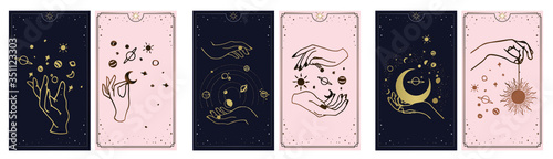 cosmos stars created by the hands of God, Golden Tarot card golden and pink with black Fototapeta