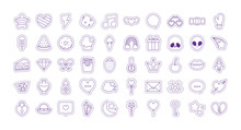 Cute Patches Line Style Icon Set Vector Design