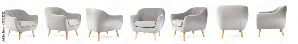Fototapeta Collage with modern comfortable armchair on white background