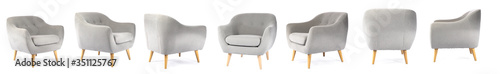 Obraz Collage with modern comfortable armchair on white background - fototapety do salonu