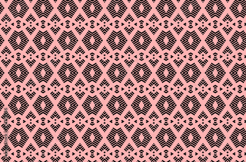 symmetrical pattern diamond shaped elements black strokes on a rosy powdery back Canvas-taulu