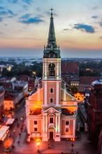 View Of Church At Dusk