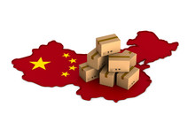 Delivery Merchandise From China On White Background. Isolated 3D Illustration