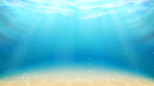 Underwater Ocean Sandy Bottom And Sunrays Vector. Peaceful Ocean, Lagoon Or Lake Pure Water With Sand Seabed, Bubbles And Sun Shining Rays. Natural Space Layout Realistic 3d Illustration