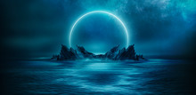 Background Of Night Sea Landsc...