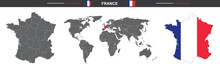Vector Map Flag Of France Isolated On White Background