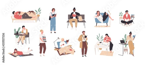 Obraz Set of people literature fans with books vector flat illustration. Collection of reading man and woman, students preparing to exam isolated on white background. Person book lovers and readers - fototapety do salonu